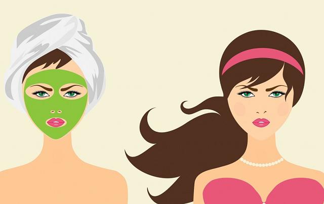 grafika przedstawiająca kobietę w zielonej maseczce i ręczniku oraz kobietę w rozpuszczonych włosach