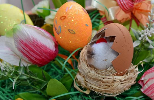 pomarańczowa pisanka, tulipan i pęknięte jajeczko