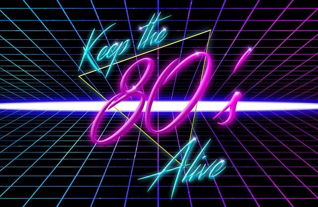 napis w stylu z lat 80