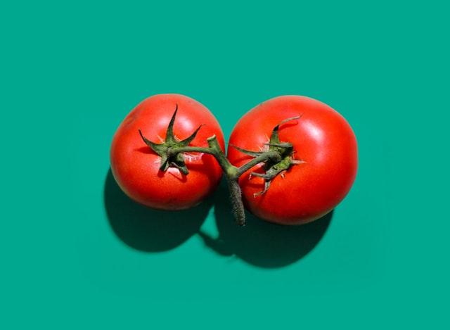 pomidory na zielonym tle