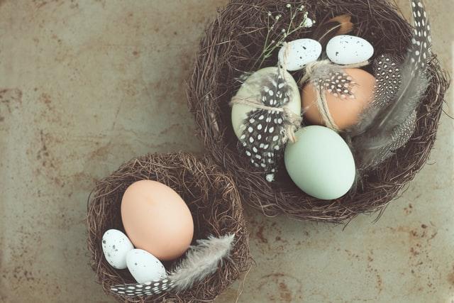 jajka w pastelowych odcieniach włożone do koszyczków razem z ptasimi piórkami