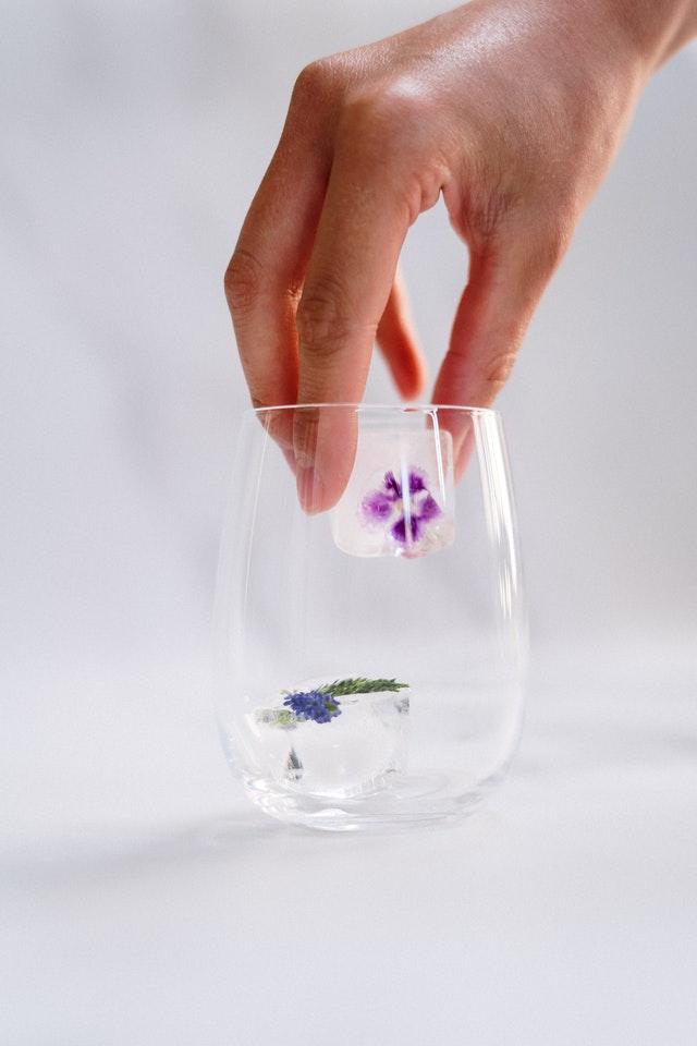 kostki lodu, w których są kwiaty trzymane przez dłoń nad szklanką